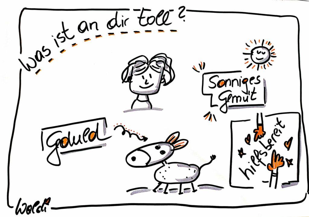 Auf dem Bild sieht man Zeichnungen. Einen Esel. eine Sonne. Hände. Die Zeichnung beschreibt, was an Waltraud Wetzlmair-Zechner toll ist. Sie ist geduldig, hilfsbereit und sie hat ein sonniges Gemüt.