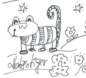 Auf dem Bild sieht man eine gezeichnete Katze. Ich habe sie Katzentiger genannt. Ein paar Blumen sind auch zu sehen. Die sind auch gezeichnet und gekritzelt.